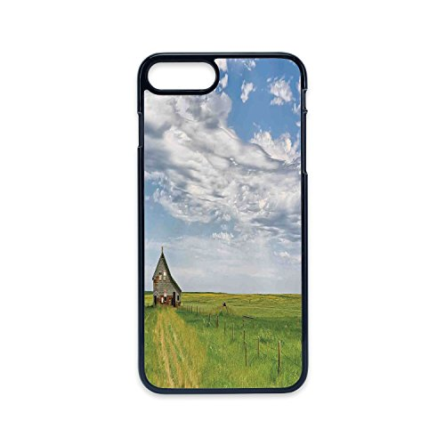 Phone Case Compatible with iPhone7 Plus iPhone8 Plus 2D Print Black Edge,Rustic Home Decor,Canadian Timber House in Terrain Grassland with Clouds in Air Landscape,Green Blue,Hard Plastic Phone Case ()