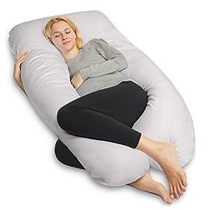 QUEEN ROSE Oreiller de grossesse, oreiller de corps avec la couverture remplaçable et lavable (140_x_78_cm, Coton, Gris) 11