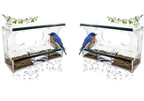 Birdious 2 Pack Deluxe Window Bird Feeders with Strong Suction Cups & Seed Tray, Enjoy Clear View Wild Birds. Best Gift Idea ()