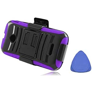 Hybrid Hard Cover Belt Clip Holster With Stand For Huawei Prism 2 II U8686 Huawei Inspira H867G, Purple On Black + Tool