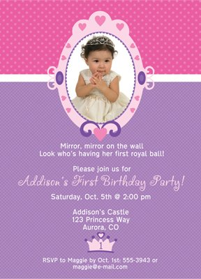 Image Unavailable Not Available For Color Magic Mirror Princess First Birthday Invitation