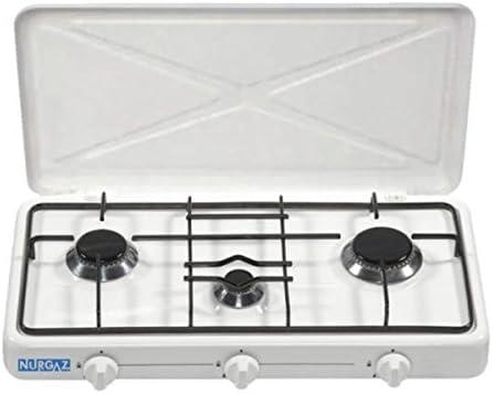 Hornillo de gas de 3 focos – 50 mbar, Ideal Para la camping Cocina o exterior Cocina