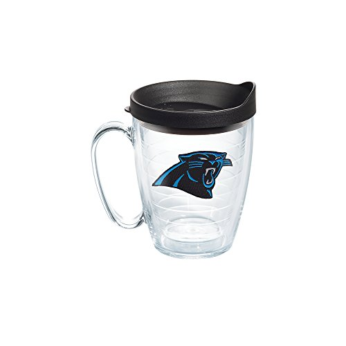 Tervis 1062469 NFL Carolina Panthers Primary Logo Tumbler with Emblem and Black Lid 16oz Mug, Clear