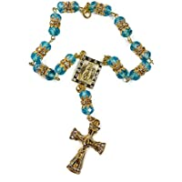 Turquoise Crystal Zircon Gold Color Beads Car Rearview Mirror Rosary (Jerusalem)