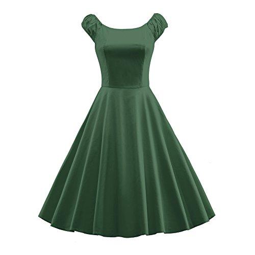 50s Été Audrey Vintage Femmes Hepburn '60 Meilleurs Pour La Santé Bouffée Vert Robe À Manches