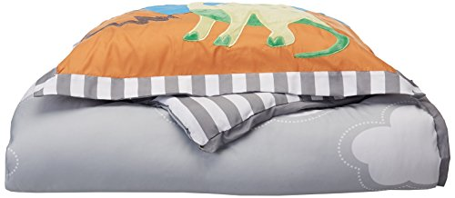 Mi-Zone Kids Dinosaur Dreams Twin Kids Bedding Sets For Boys - Grey, Blue, Dinosaur – 3 Pieces Boy Comforter Set – Ultra Soft Microfiber Kid Childrens Bedroom Comforters - Dinosaur Twin Comforter