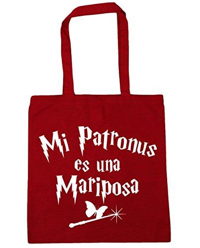 HippoWarehouse Mi Patronus es una Mariposa Bolso de Playa Bolsa Compra Con Asas para gimnasio 42cm x 38cm 10 litros capacidad Rojo