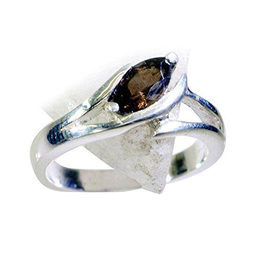 Gemsonclick Real Smoky Quartz Ring Women Silver Marquise Cut Bezel-setting Handmade Size 5,6,7,8,9,10,11 ()