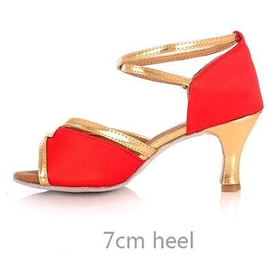 YFF Ladies Women Ballroom Latin Dancing Shoes High Heel Soft Sole Professional  Tango Salsa Indoor Girl 627375eb5768
