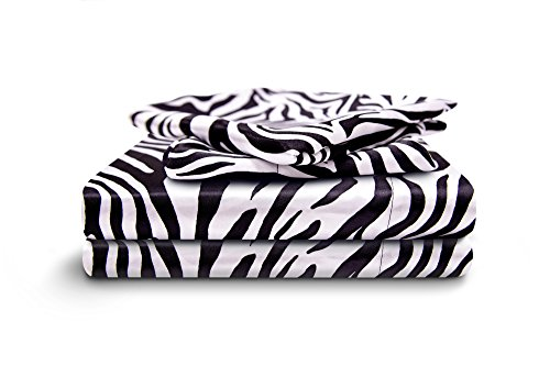HONEYMOON HOME FASHIONS Queen Sheet Set Luxury Silkily Like Satin Bed Sheets, Zebra