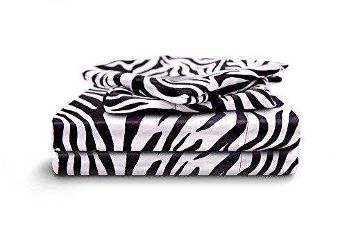 HONEYMOON HOME FASHIONS Queen Sheet Set Luxury Silkily Like Satin Bed Sheets, Zebra by HONEYMOON HOME FASHIONS (Image #5)
