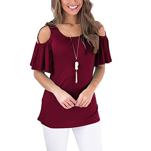 エトナ山寂しいベアリングHEYME レディース Tシャツ シンプル 半袖 無地 春 夏 ゆったり 肩出し オフショルダー 大きいサイズ ファッション おしゃれ セクシー 半袖