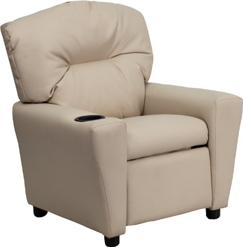 ComfortScape Contemporary Beige Vinyl Kids Recliner with Cup Holder