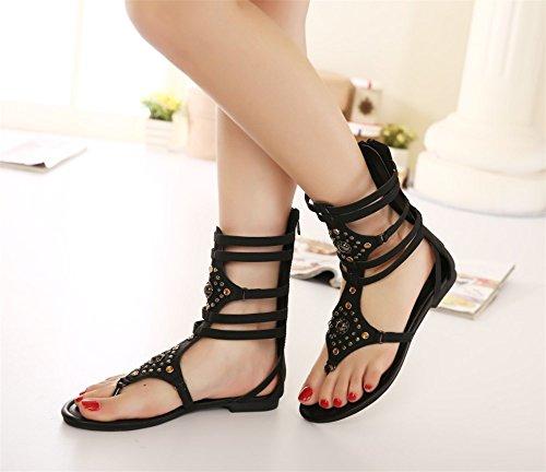 respirantes chaussures sport des Taille soirée mode les Unis de la creux noir pour et plates de 37 sandales chaussures l'Europe femmes sexy États chaussures sandales Nouvelles de qZPTwc6W