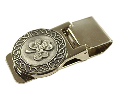 Celtic Money Clip Shamrock & Weave Stainless Steel & Pewter Made in Ireland (Celtic Money Clip)