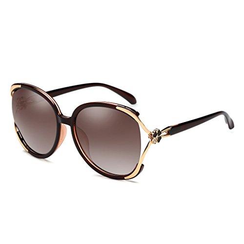 lunettes boîte le soleil mince paragraphe de lunettes soleil rondes marée était WLHW de avec lunettes gens élégante Marron dame grande polarisée Étoile de longue pYqvcwFZ