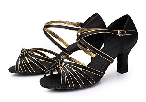 Tda Femmes Cheville Sangle Cheville Sangle Mode Mi-talon Noeud Satin Salsa Tango Samba Latin Chaussures 7cm Noir Or