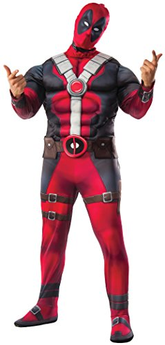 Deadpool Adult Mens Costumes (Marvel Men's Deadpool Deluxe Muscle Chest Costume and Mask, Multi, Standard)