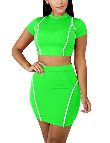 Mokoru Women's Sexy 2 Piece Crop Top Mini Skirt Set Short Sleeve Bodycon Club Dress, Medium, Light Green