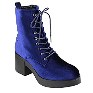 Beston EJ46 Women's Platform Ankle Stacked Heel Combat Booties Run Large, Color Blue, Size:7