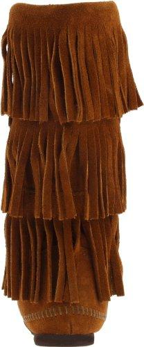 Minnetonka Calf Hi 3-Layer Fringe, Damen Kurzschaft Mokassin Stiefel Braun (Brown 2)
