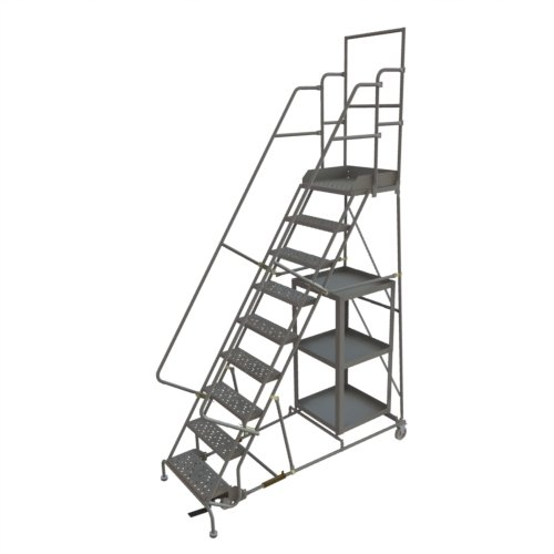 Tri-Arc KDSP109242 9-Step Stock Picking Industrial & Warehouse Steel Rolling Ladder with Grip Strut Tread