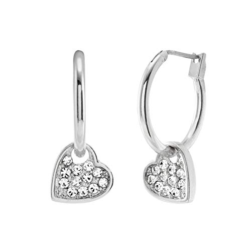 - Bellina Sweet Heart Dangle Sparkle Austrian Crystal Silver Tone Two-in-One Hoop Earrings with Hypoallergenic Stainless Steel Stem