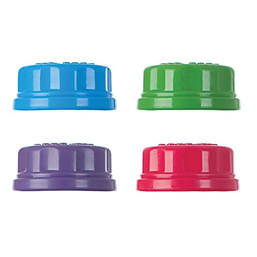 Lifefactory Flat Caps for 9-Ounce and 4-Ounce BPA-Free Glass Baby Bottles, Assorted Colors (Pack of 4)