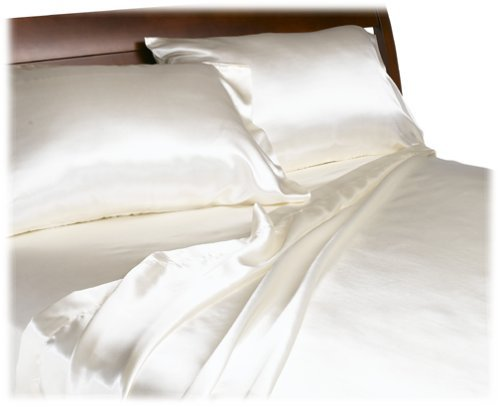 Royal Opulence Divatex Home Fashions Satin King Sheet Set, Ivory]()