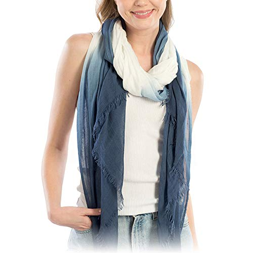 Me Plus Women Fashion Lightweight Soft Spring Summer Long Scarf Shawl Wraps (Tie-Dye Two Tone - Navy)