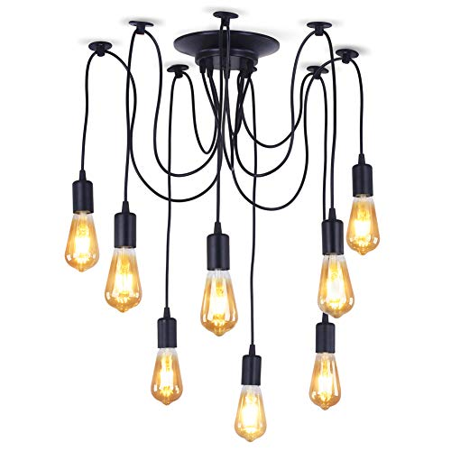 Dixun Retro Classic Edison Lamp Chandelier Loft Light Spider Pendant Lighting Fixture Industrial Ceiling CeilingLight for Farm House Dining Room Hotel 8 Arms