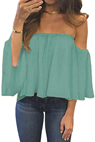 BLUETIME Women Off Shoulder Summer Chiffon Blouses Ruffles Short Sleeves Casual Loose Sexy Tops (M, Neo Mint)