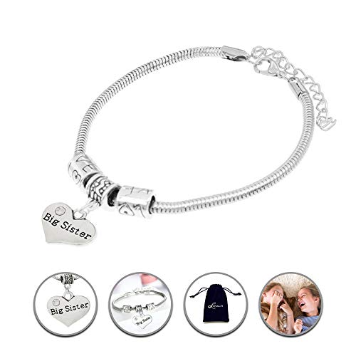 Big Sister Charm Bracelets, Adorable Big Sister Heart Bracelet, Best Family Jewelry Gift