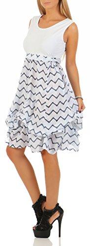 malito Vestido de Verano rayas Mandil Vestido de Cóctel 10642 Mujer Talla Ùnica azul claro