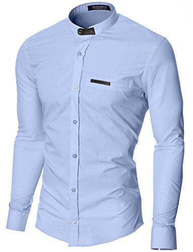 MODERNO Slim Fit Grandad Kragen Herrenhemd (MOD1427LS)