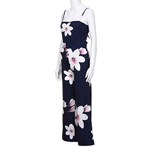 3e722333a50c Amazon.com  Minisoya Women Backless Floral Clubwear Playsuit Casual Bodycon  Party Wide Leg Jumpsuit Romper Long Pants Trousers  Clothing