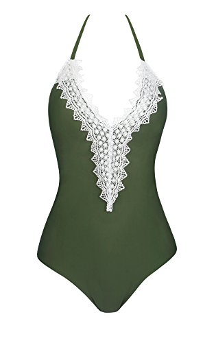 CoolEnding Plus Size Swimsuit One Piece Bathing Suit For Women Crochet Swimsuits Army Green 2XL (Onepiece Green Swimsuit)