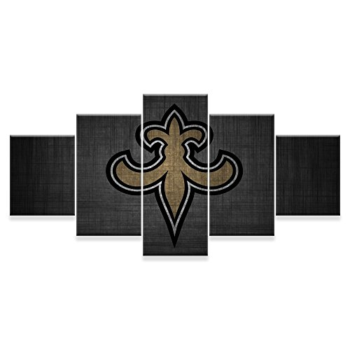 [Small] Premium Quality Canvas Printed Wall Art Poster 5 Pieces / 5 Pannel Wall Decor New Orleans Saints Painting, Home Decor Pictures - With Wooden Frame (New Wall Art Decor)