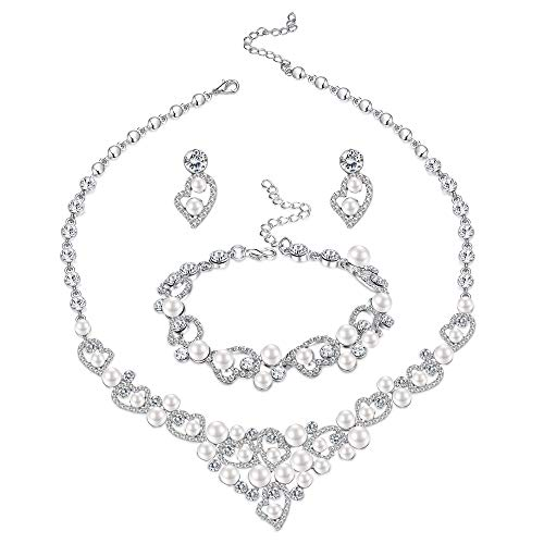LOYALLOOK Silver-Tone Crystal Heart Bridal Bridesmaid Rhinestone Necklace Set Bracelet Dangle Earrings Wedding Prom Jewelry Sets (Pearl Earrings+Necklace+Bracelet Set)