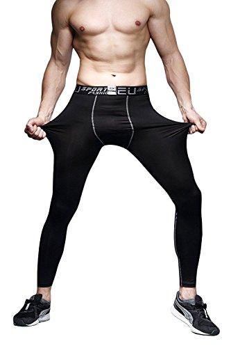 BS Men's Running Tights Compression Sports Cool Dry Pants Baselayer Fitness Yoga Spandex Leggings,Black 1,US MEDIUM(ASIA XL)