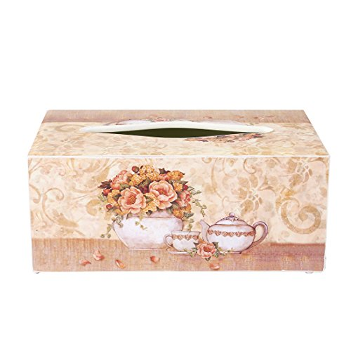 BEYONDA 45 Rectangle Wooden Facial Tissue Box Cover Tissue Holder Napkin Dispenser with Floral Collection by hand painting Delicate And Unique (white)