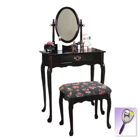 New Cherry Finish Queen Anne Make Up Vanity Table with Mirror & Skulls & Hearts Themed Bench