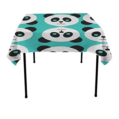 - Jinkela Tablecloth Square Polyester Table Cover - Wedding Restaurant Party Banquet Decoration, Green Panda Patterns, 36 x 36 Inch