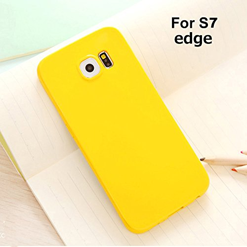 Galaxy S7 Edge Jelly Case, ANLEY Candy Fusion Series - [Shock Absorption] Classic Jelly Silicone Case Soft Cover for Samsung Galaxy S7 Edge (Goldenrod Yellow) + Free Ultra Clear Screen Protector