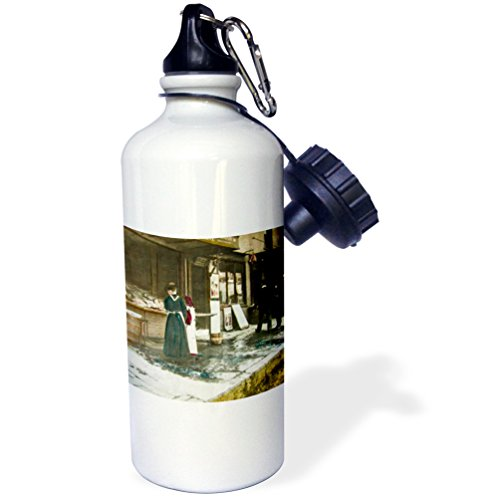 3dRose Scenes from the Past Magic Lantern - Victorian Tale Vintage Fish Market Lady Daughter 1890 Magic Lantern - 21 oz Sports Water Bottle (wb_246001_1) ()