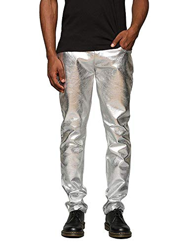 Extravagant Halloween Costumes (COOFANDY Men's Nightclub Metallic Silver Pants Shinny Slim Disco Hiphop Dance Jeans Pants Costume Party Clubwear,Extravagant)