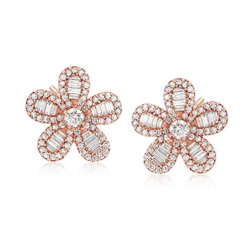 (Ross-Simons 1.18 ct. t.w. Diamond Flower Stud Earrings in 18kt Rose Gold)