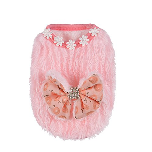 Bowknot Baby Dog Pet Clothes Teacup Dogs Clothing Puppy Winter Warm Thick Sweaters (XS, Pink)