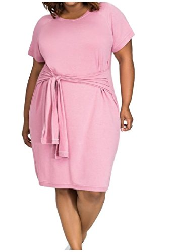 Coolred-femmes Bretelles Manches Courtes Robes Élégantes De Bureau De Coton Confortable-taille Plus Rose