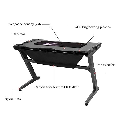 Leoneva Racing Table E-sports Gaming Desk Ergonomic Comfortable Z-Shaped Computer Desk Table With LED Ambience Lighting, 48.3 x 25.8 x 29.9inch (US Stock, Black) by Leoneva (Image #4)